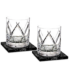 Waterford Olann 2-Pc. Double Old Fashioned Glass Set with 2 Marble Coasters