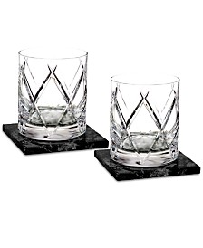 Waterford Olann Double Old Fashioned Glass Pair with 2 Marble Coasters
