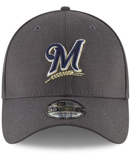 fef41d9b644 ... new style new era milwaukee brewers charcoal classic 39thirty cap  sports fan shop by lids men