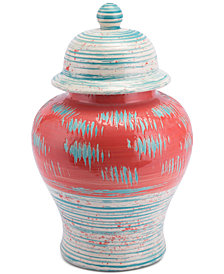 Zuo Coralia Temple Jar Coral Red & Turquoise