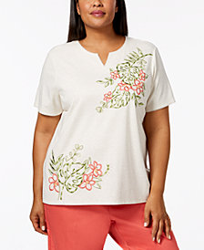 Alfred Dunner Plus Size Parrot Cay Embellished Embroidered Top