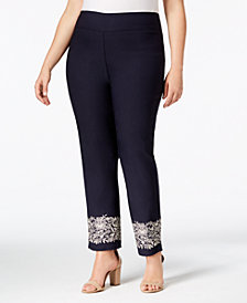 Charter Club Plus Size Tummy Control Embroidered-Cuff Pants, Created for Macy's