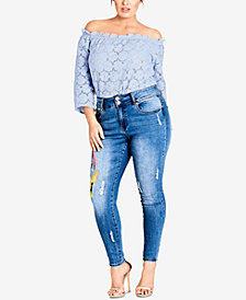 City Chic Trendy Plus Size Embroidered Skinny Jeans
