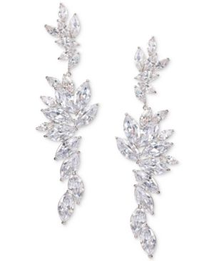 NINA Layered Marquise Cubic Zirconia Statement Earrings in Rhod/White