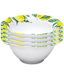 "Q Squared	Limonata 4-Pc. Melamine 6.5"" Cereal Bowl Set"