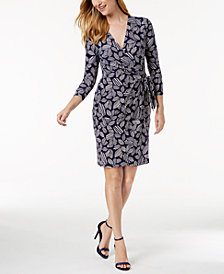 Anne Klein Printed Faux-Wrap Dress