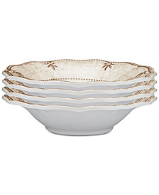 "Q Squared	Rustica Bone White 4-Pc. Melamine 8"" Cereal Bowl Set"