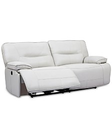 "CLOSEOUT! Mantella 83"" Leather Sofa With Power Recliners And USB Power Outlet"