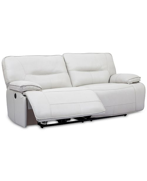 CLOSEOUT! Mantella 83 Leather Sofa With Power Recliners And USB Power Outlet