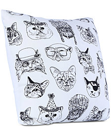 "Brooklyn Industries Cattitude Printed 20"" Square Decorative Pillow"