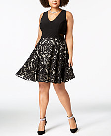 Xscape Plus Size Solid & Damask Illusion Dress