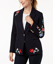 Nine West Embroidered One-Button Blazer