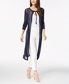 Anne Klein Mesh Cardigan & Slim-Fit Pants