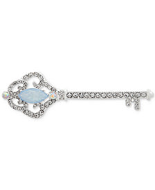 Anne Klein Silver-Tone Crystal Key Pin, Created for Macy's