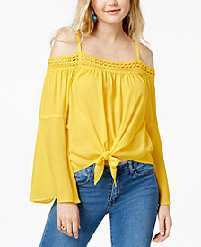 BCX Juniors' Bell-Sleeve Off-The-Shoulder Top