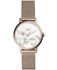Fossil Women's Neely Pastel Pink-Tone Stainless Steel Mesh Bracelet Watch 34mm