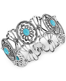 Carolyn Pollack Turquoise Link Bracelet (6-2/3 ct. t.w.) in Sterling Silver