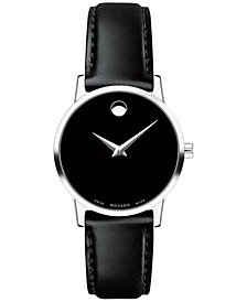Movado Women's Swiss Museum Classic Black Leather Strap Watch 28mm