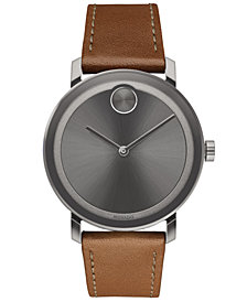 Movado Men's Swiss BOLD Evolution Cognac Leather Strap Watch 40mm