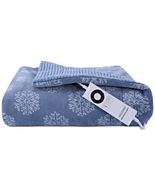 "Berkshire Soft Snowflakes VelvetLoft 50"" x 62"" Electric Throw Blanket"
