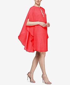 SL Fashions Rhinestone-Embellished Capelet Dress