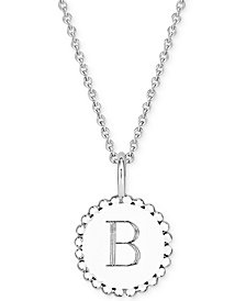 """Sarah Chloe Initial Medallion Pendant Necklace in Sterling Silver, 16"""" + 2"""" extender"""