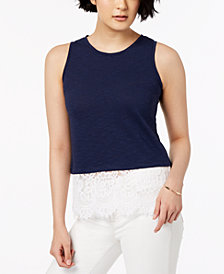 Maison Jules Lace-Trim Tank Top, Created for Macy's