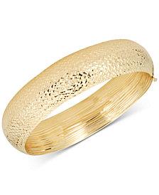Diamond-Cut Wide Bangle Bracelet in 14k Gold