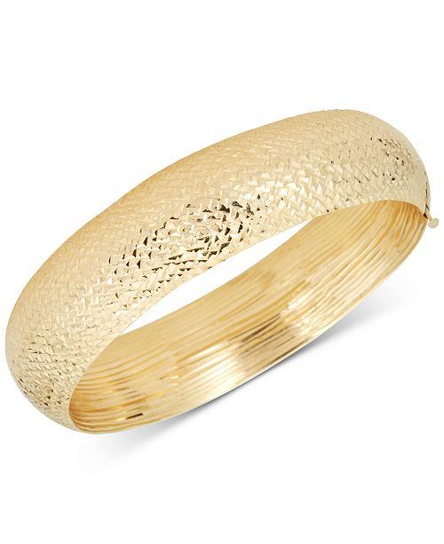 Macy's Diamond-Cut Wide Bangle Bracelet in 14k Gold