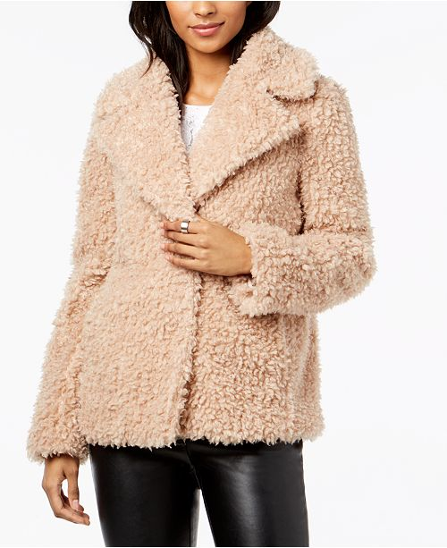 27d68519a kensie Faux-Fur Chubby Teddy Coat   Reviews - Coats - Women ...