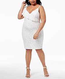 Soprano Trendy Plus Size Ruffled Lace Bodycon Dress