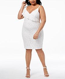 Soprano Trendy Plus Size Ruffled Lace Bodycon Dress