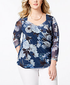 Love Scarlett Plus Size Printed Mesh Sweetheart-Neck Top