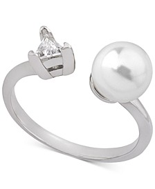 Sterling Silver Triangle Cubic Zirconia & Imitation Pearl Open Ring