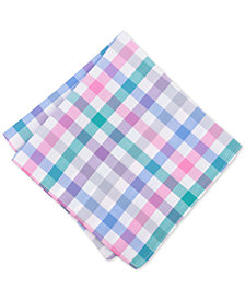 Bar III Men's Bold Color Gingham Pocket Square, Created for Macy's