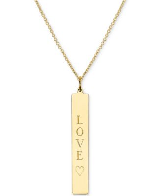 46351d66 Engraved Love Bar Pendant Necklace in 14k Gold over Silver, 16 + 2 extender  (also available in Sterling Silver)
