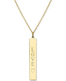 "Engraved Love Bar Pendant Necklace in 14k Gold over Silver, 16"" + 2"" extender (also available in Sterling Silver)"
