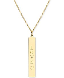 "Sarah Chloe Engraved Love Bar Pendant Necklace in 14k Gold over Silver, 16"" + 2"" extender (also available in Sterling Silver)"