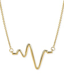 "Large Heartbeat Pendant Necklace in 14k Gold, 16"" + 2"" extender"
