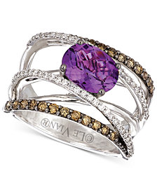 Le Vian® Grape Amethyst™ (1-3/8 ct. t.w.) & Diamond (3/4 ct. t.w.) Crisscross Statement Ring in 14k White Gold