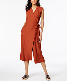 Eileen Fisher Wrap-Front Cropped Jumpsuit, Regular & Petite