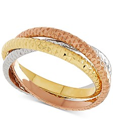 Italian Gold Tricolor Textured Roll Ring in 14k Gold, White Gold & Rose Gold