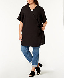 Eileen Fisher Plus Size Silk Blend Wrap Kimono Jacket