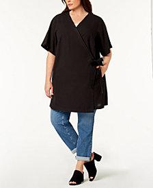 Eileen Fisher Plus Size Silk Blend Wrap Kimono Jacket
