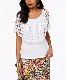Thalia Sodi Crochet-Popover Off-The-Shoulder Top, Created for Macy's