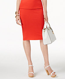 MICHAEL Michael Kors Ribbed Pencil Skirt, Regular & Petite, Created for Macy's
