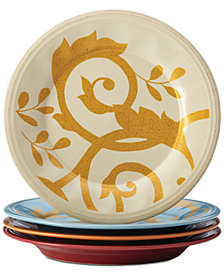 Rachael Ray Gold Scroll Set of 4 Salad Plates
