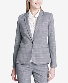 Calvin Klein One-Button Plaid Blazer, Regular & Petite