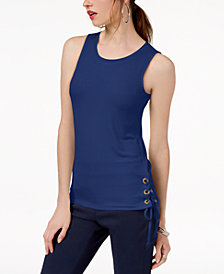 I.N.C. Petite Lace-Up Tank Top, Created for Macy's