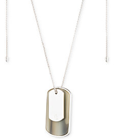 "Lauren Ralph Lauren Silver-Tone & Horn Dog-Tag 36"" Slider Pendant Necklace"